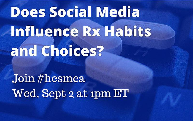 Does Social Media Influence Prescribing Habits & Choices? http://t.co/ONBemeHSMn #hcsmca Wed 1pm ET #hcldr http://t.co/iwRT9Of27m