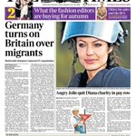Tomorrows front page: Germany turns on Britain over migrants http://t.co/faDriVOb0X
