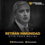 #Urgente: Congreso de la República aprueba el retiro de inmunidad al Presidente Otto Pérez Molina. http://t.co/0Py0cBmjPJ