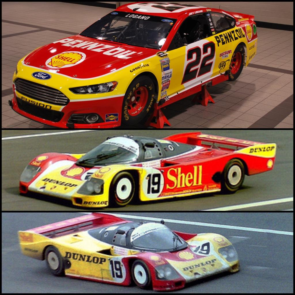 Here's the Ford that @joeylogano will run at @TooToughToTame inspired by old @MarioAndretti @shellracingus Lemans car http://t.co/969jwCT4PR