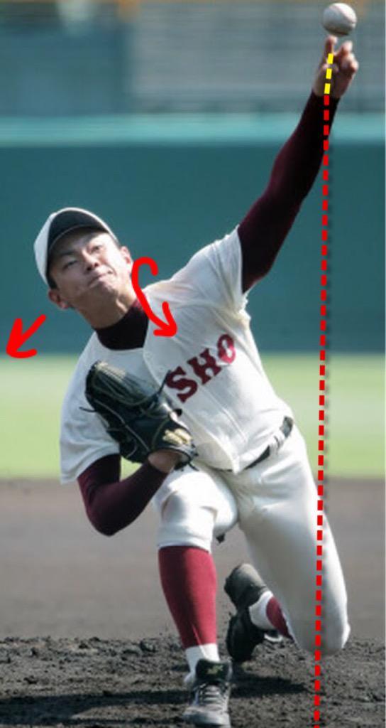 @taitsusensei リリース時に首を傾け、投げ腕をスムーズに通す動きは中日 岩瀬投手を彷彿。投げ腕の遠心力は最大に。手首の角度が地面に対し垂直に近く、投球の回転数は多い。直球は浮力が強く、スライダーはドライブ回転する。 http://t.co/W54WKkJ0Od