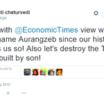 Bwahahaha! @bainjal is now fit to be a Historian. Aurangzebs son built Taj Mahal. Wah Taj! @EconomicTimes http://t.co/6qvi6aYUSX