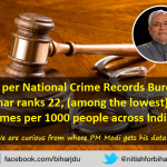 Bihar ranks 22 (among lowest) in crimes per 1000 people across India. We are curious from where PM Modi gets his data http://t.co/oCDx08eBIF
