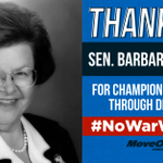 THANK YOU @SenatorBarb for being the 34th vote for peace & diplomacy! #NoWarWithIran #p2 http://t.co/yI2lVmAlL2