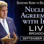 Secretary @JohnKerry delivers remarks on the #IranDeal at 11:00 AM EDT today. Watch live on http://t.co/T9DBimTZYn. http://t.co/TaEHZunsQS