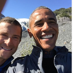 POTUS and Bear Grylls instagrammed from Exit Glacier in Alaska. Who got their finger in the shot? http://t.co/r2HSyOq5xu