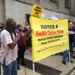 Small but vocal protest outside #FreddieGray court hearing in Baltimore. A live report on #GoodDayDC at 9 @fox5newsdc http://t.co/0Cpel46t9q