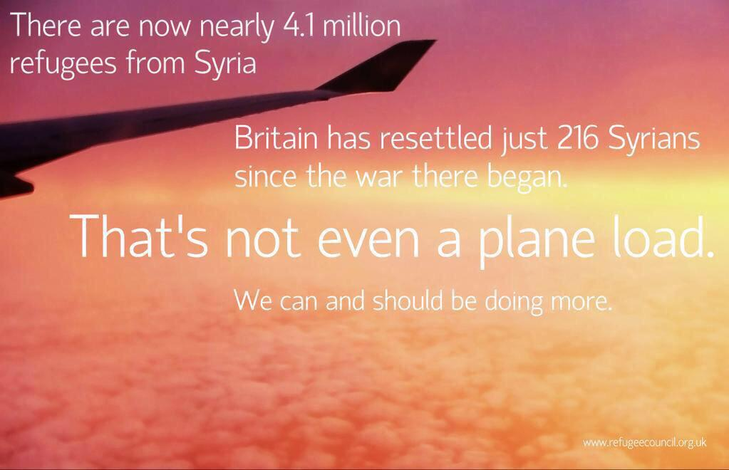 David Cameron has said we should not take any more refugees. We could hardly take any fewer. http://t.co/CsAeKR1oHr