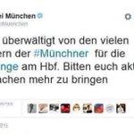 تغريدة للشرطة الألمانية تطالب فيها السكان بالتوقف عن جلب مزيد من المعونات لـ #اللاجئين،لأن الكميات الموجودة كبيرة جدا http://t.co/vKYeYXodtY