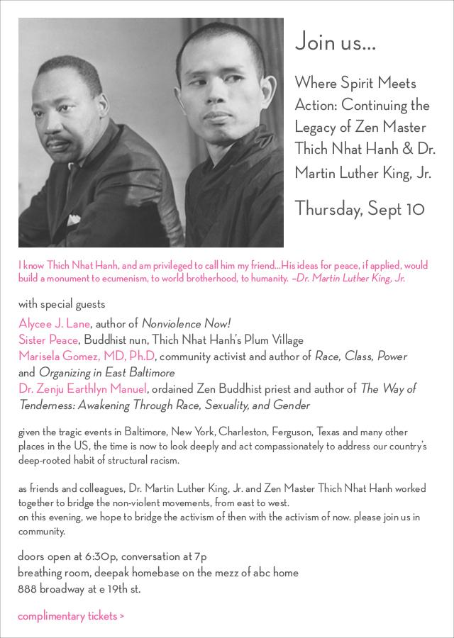 """Join us for """"Continuing the Legacy of @thichnhathanh & Dr. Martin Luther King, Jr."""" 9/10 http://t.co/ezAEOvBoqN http://t.co/xL2gzv7gCP"""