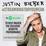 justinbieber: made an acoustic #whatdoyoumean video for u. stream to unlock on @spotify http://t.co/ilCqdMqz50 http://t.co/NWQzW6pbpL