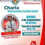 """¡Hoy! Charla: """"Sácale provecho a tus Redes Sociales"""" con Eduardo Castillo, Editor Internet CNN-Chile #Antofagasta http://t.co/rscGPi2vJu"""