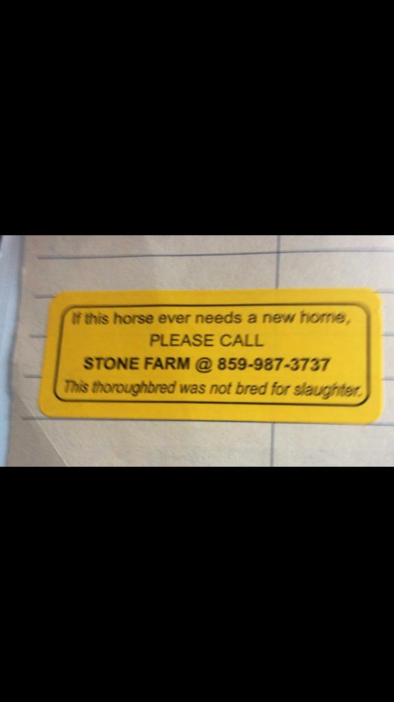Well done @stonefarmky for a great idea.More studs should aspire to put this on all passports of horses they breed http://t.co/ZNQ12dauFf