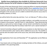 We are proud today to unveil satellite caucus application forms for the 2016 #IAcaucus. http://t.co/OA5SXPz96K http://t.co/RfIPRJQTFR
