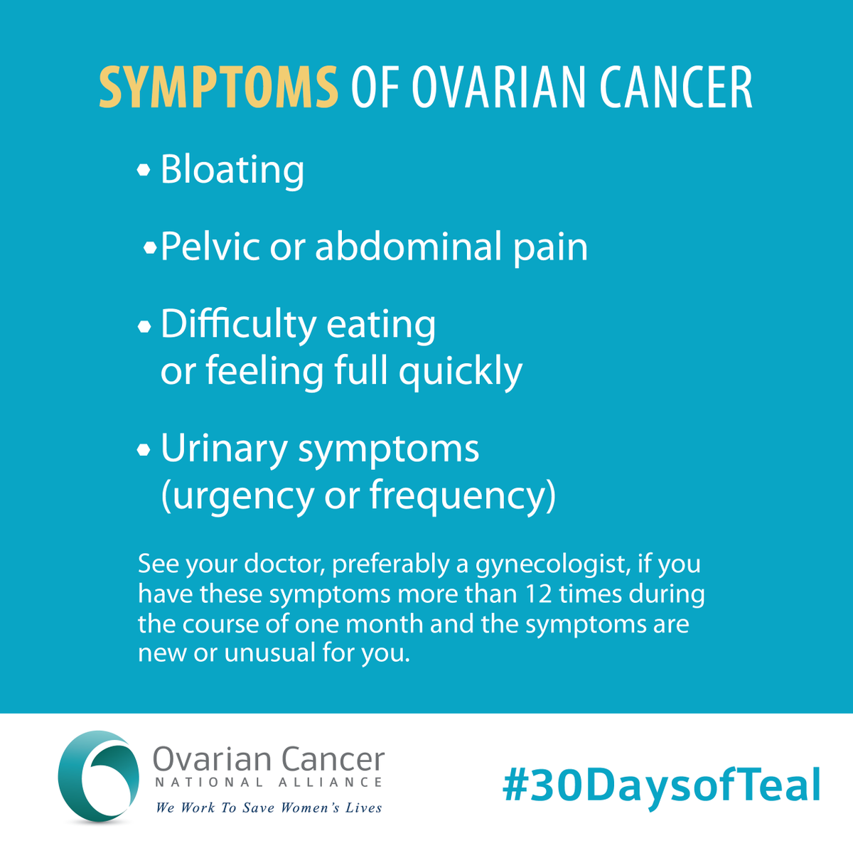 Help tell 100,000 women abt the symptoms of ovarian cancer! Share this graphic! #30DaysofTeal http://t.co/pE3vf6dVZ5 http://t.co/KdoUFloENR