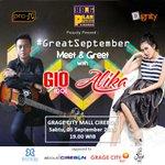 #GreatSeptember Meet & Greet Gio Idol dan Alika | Sabtu 5 Sept | Jam 19.00 | di @GrageCityMall2 http://t.co/NmV0gqjqZ4