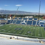 Different view from the Maverik Stadium Press Box this year, but the Wellsvilles provide a nice backdrop. http://t.co/buWCh34y6x