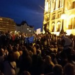 """Anti government rally in Budapest #Hungary for migrants. """"Stop demonizing migrants, stop criminalizing them."""" http://t.co/SbwhJwXaSR"""