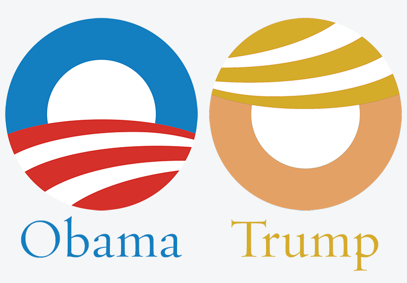 Just noticed how well the Obama logo works for Trump with some simple color changes and rotation. http://t.co/1r91SeXTDx