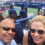 """""""@CMCKENDRY_ESPN: Taking in Serena's match with @miketirico ... We are professional sports fans! @ESPNTennis"""