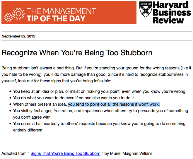 Today's management tip: Don't overlook your own stubbornness http://t.co/9DojpXo5xD