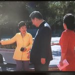 Lingering a moment longer with Park Geun-hye, as Xi Jinping meets leaders at WW2 parade in Beijing #VDay http://t.co/ehtvncLj5l
