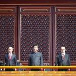 Chinas #XiJinping, Jiang Zemin & Hu Jintao, Russias Putin, ROKs Park on Tiananmen Rostrum watching #VDay parade http://t.co/ILGJ4DupL9