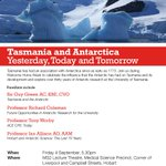 Dont forget our major #ResearchWeek lecture is on tomorrow evening: Tasmania & Antarctica http://t.co/4MhWOJr6Tu http://t.co/aN9UvgBv52