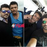 Srujan's Selfie With Darshan On The Sets Of #JagguDaada  http://t.co/vzaKfQdtVq