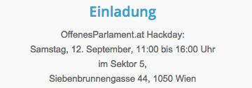 Parlamentsdaten befreien mit OffenesParlament.at! Hackday am 12. September - kommst Du? http://t.co/mn6LwddxBx http://t.co/vROpvOULnH