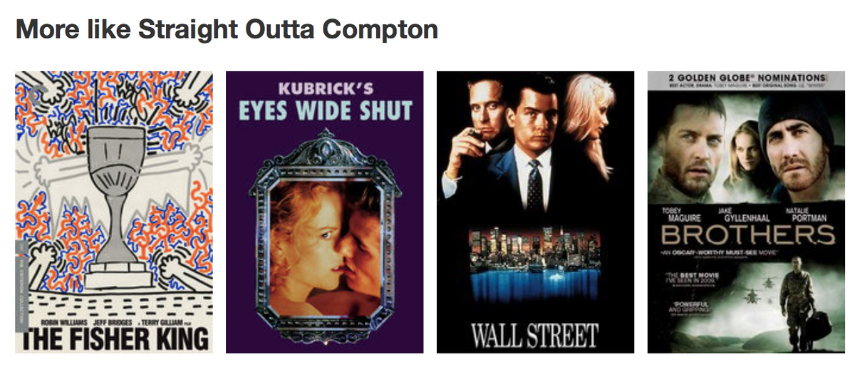 on their website these are the films that netflix are suggesting are