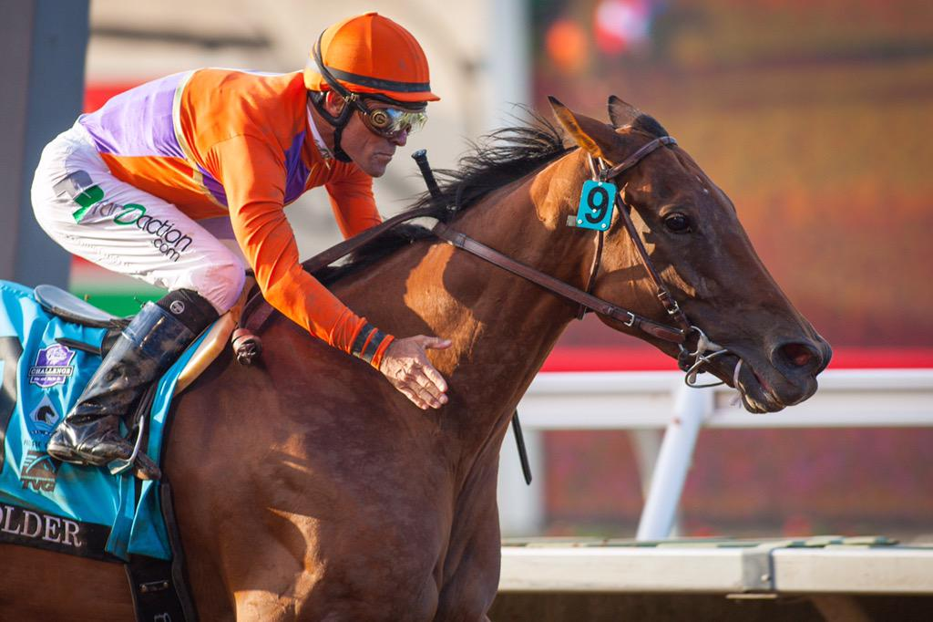 Beholder makes history being the first female to capture the $1,000,000 @TVG #PacificClassic! http://t.co/l8v5iYCBIy