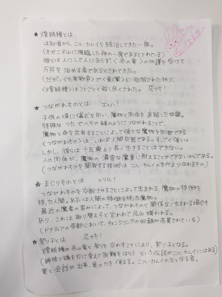 ニコ生トークパートの照井先生コーナー用に、先生自ら手書きで用意して頂いたメモがこちら!さすが先生! #chaos_ani