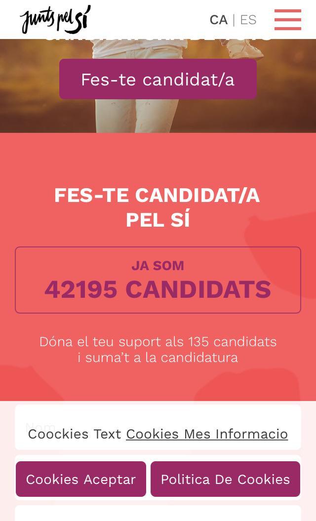 Amb els candidats de @JuntsPelSi ja es pot cobrir una marató amb una persona a cada metre. http://t.co/r3kCAXzOIB