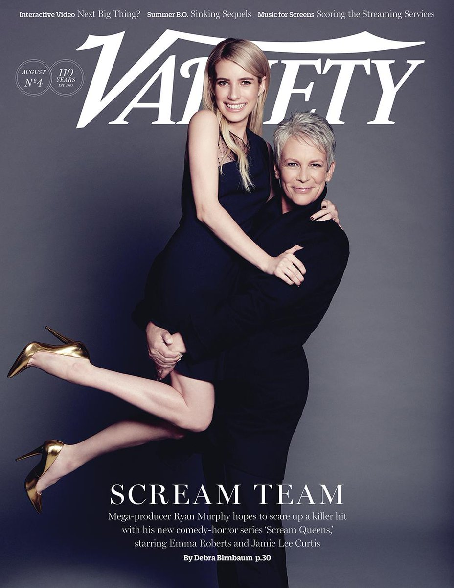 Sneak peek @Variety cover: Behind the scenes of #ScreamQueens with @RobertsEmma @jamieleecurtis & @MrRPMurphy http://t.co/4i56YXAD4k