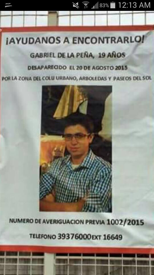 Apoyemos a encontrar a Gabriel de la Peña, por favor comparte esta información @AAMBER_mx @EnGuadalajara #RT #Ayuda http://t.co/LaBk45L0sw