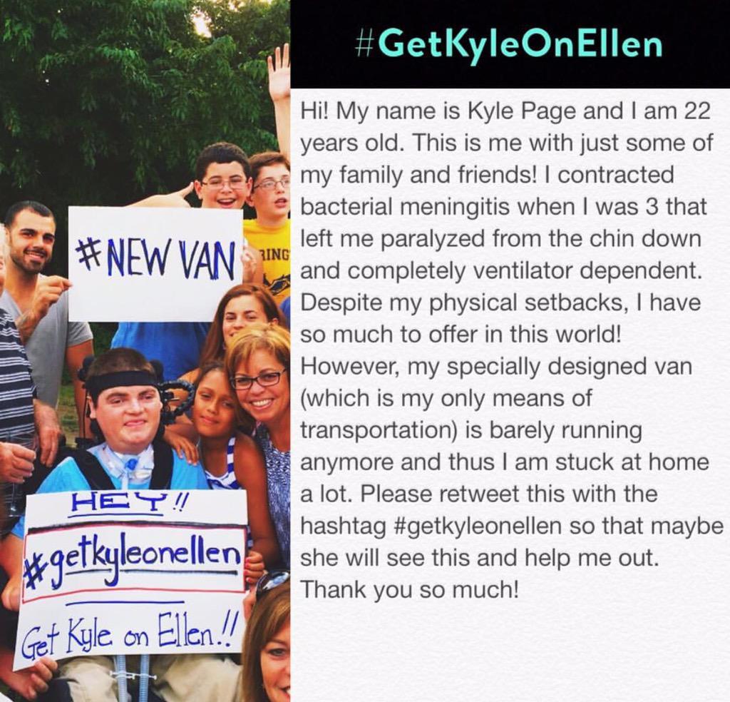 Please retweet to get my Kyle a new van @TheEllenShow #GetKyleOnEllen http://t.co/cC3vButo2X