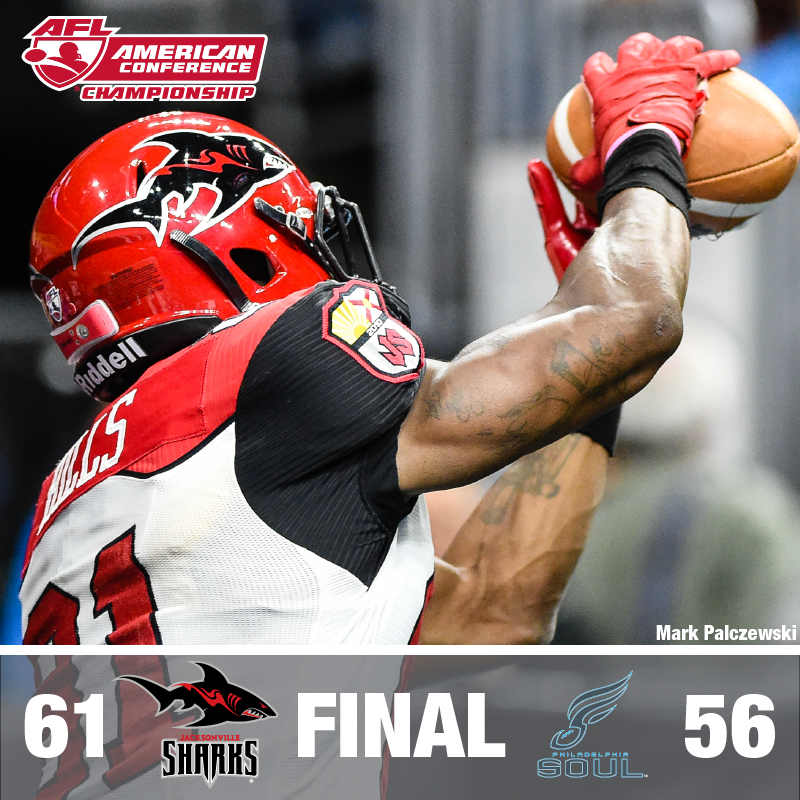 SHARKS WIN! The Sharks take down @soulfootball 61-56 and will face the @SJSaberCats in ArenaBowl XXVIII! http://t.co/KtLH8ndigy