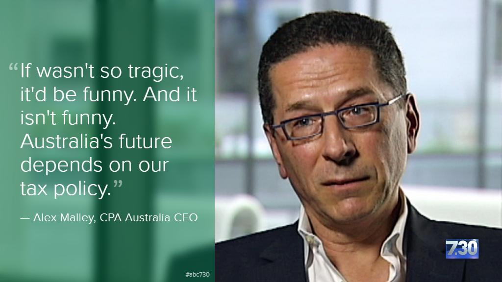 """If wasn't so tragic, it'd be funny,"" says @AlexMalleyCEO on Joe Hockey's tax policy speech. #abc730 #auspol http://t.co/ZAY0s9Fc8G"