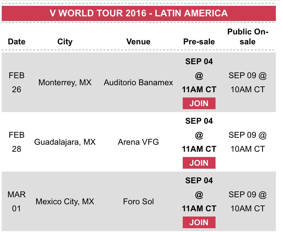 .@Maroon5 viene a México y a Latinoamérica en el 2016. http://t.co/jMUwSnTUKr