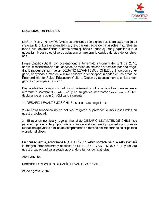 """DECLARACIÓN PÚBLICA SOBRE """"LEVANTEMOS CHILE"""" http://t.co/hfFDNL055g"""