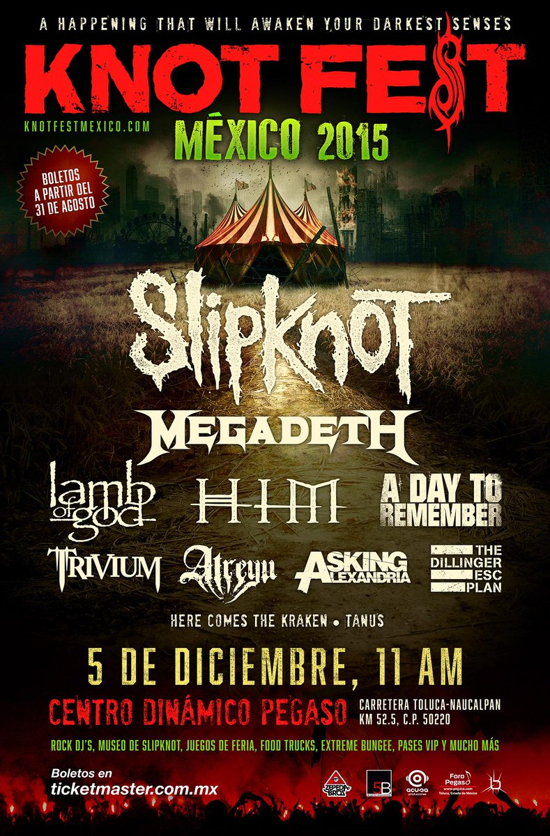 We're coming for you, @knotfestmexico. Tickets on-sale 31/8 here: http://t.co/h0JvqsemDH #KNOTFESTMEXICO http://t.co/72UW1ixr25