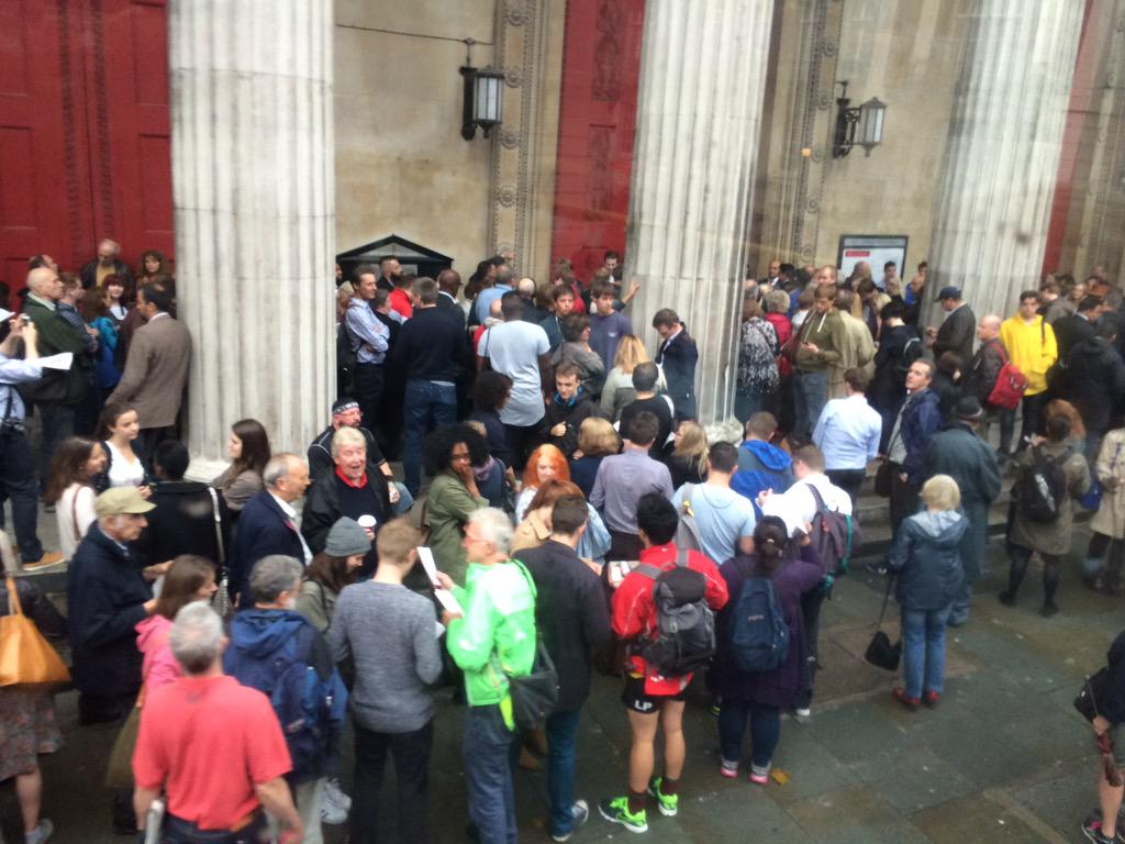 Queues for Andy Burnham on a gloomy Camden night http://t.co/prNjcZd6je
