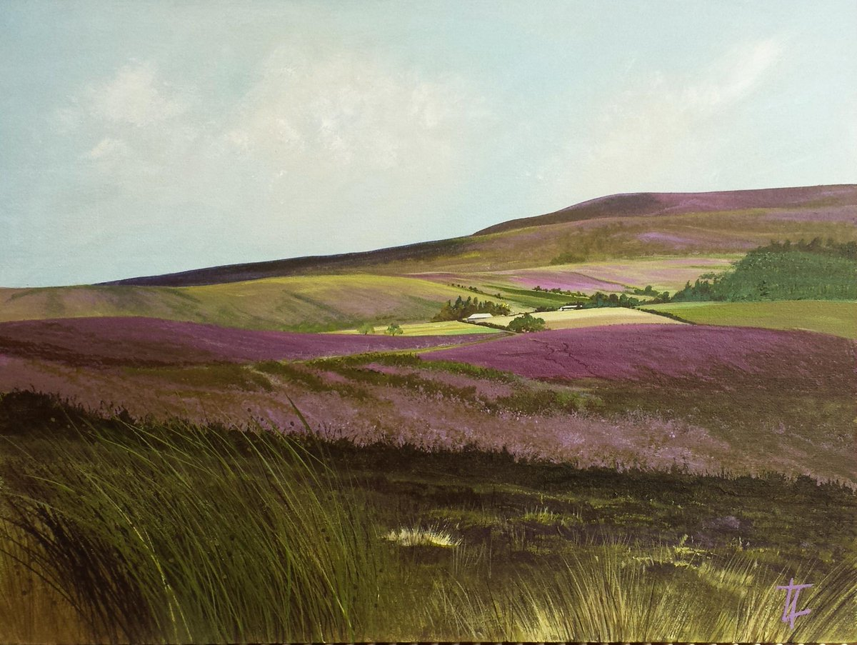 #northeasthour Finished this evening- my painting of Debdon Farm from The Rothbury Terraces, with heather in bloom. http://t.co/DVjyw8rQ7Q