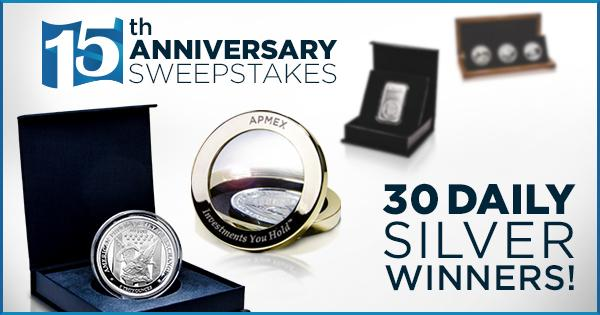 Win Free Silver using #APMEX15 Enter at http://t.co/6pVa7AY0WP. 30 winners/day 300 oz of Silver given away this week! http://t.co/p9ZTieupi3