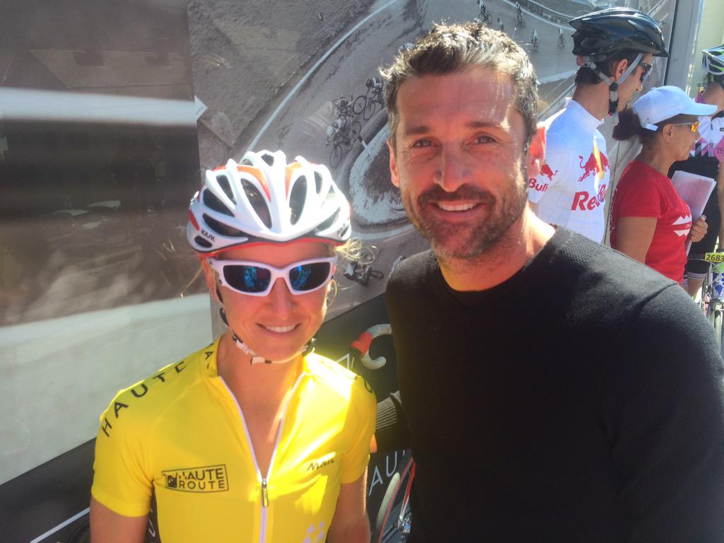 Great moments on the #HauteRoute as @PatrickDempsey meets our top female rider Emma Pooley http://t.co/WLikxMCTI2