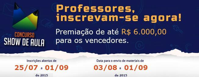 #Atenção professores que querem participar do Concurso Show de Aula! O prazo termina em 01/09: http://t.co/OGGN7WEtWU http://t.co/mjxLLCewIf