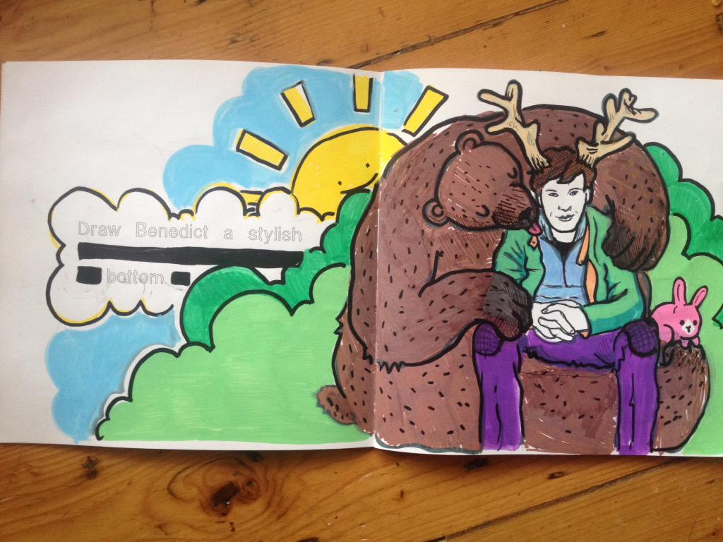 More Cumberbatch colouring. This time: being tenderly licked by a bear. http://t.co/Evh0aQIofR