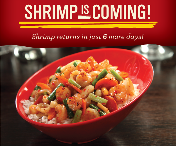 Only 6 days until Shrimp is BACK! How will you #ShrimpMyBowl? Tell us for the chance to win $25 GG gift card! http://t.co/dr9lgmd2NZ